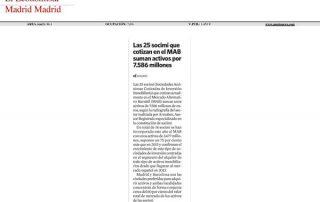 Las 25 socimi que cotizan en el MAB suman activos por 7586 millones